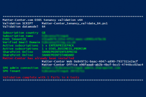matter-center.com powershell o365 tenancy validation